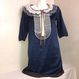 Chloe Cerulean Silk Ruffled Lace 3/4 Sleeve Dress